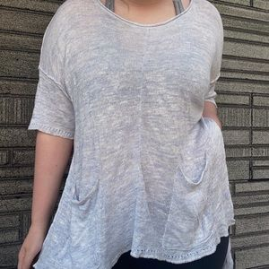 Free People High-Low Blue Knitted Tunic Top